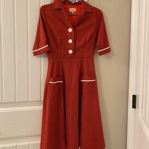 XS Lindy Bop Plaid red dress
